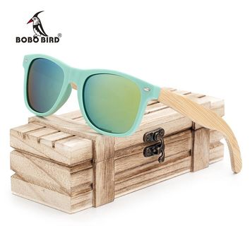 BOBO BIRD Bamboo Legs Polarized Wood Holder Sun Glasses With Retail Wood Case