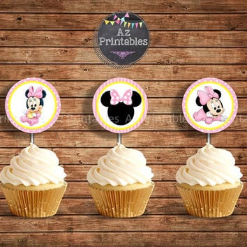 Sale Baby Minnie Mouse,instant download,  light, pink, polka dots, Printable, cupcake, topper, tag, elegant, digital print, baby, Minnie mou