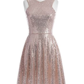 Stunning Sequined Sleeveless V-Neck Cocktail Evening Party Dress KK1065