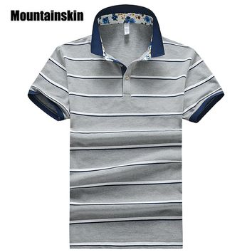 Mountainskin 2017 Classic Mens Polo Shirts 3XL Summer Striped Men's Polos Slim Fit Thin Camisas Polo Male Tops Breathable SA223