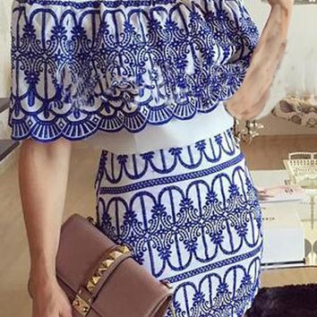Blue Patchwork White Print Boat Neck Elbow Sleeve Mini Dress