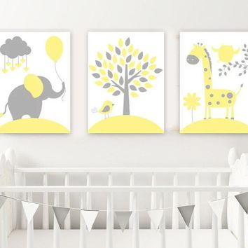 Yellow Gray Nursery Wall Art, Canvas or Print, Baby Girl Nursery Decor, Elephant Giraffe Tree, Jungle Safari Animals Artwork, Set of 3 Decor