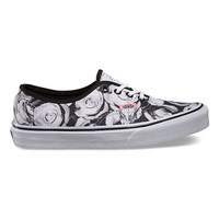 Vans Digi Roses Authentic Womens Shoes Black/True White  In Sizes