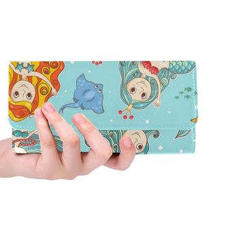 Mermaids Women's Trifold Long Clutch Wallets