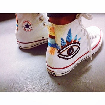 Evil Eye Embroidered Converse Sneakers