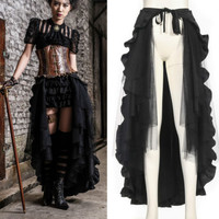 Steampunk Gothic RQ BL Skirt steam long black Cloak cape Vintage Skirt Ruffle