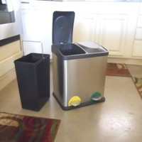 Triple Bin Stainless Steel Recycle Trash Can
