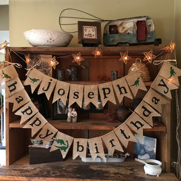 Dinosaur Birthday Name Banner, Happy Birthday Banner, Birthday Garland, Birthday Garland, Dinosaur Banner, Burlap Dino Bunting, Happy Burlap