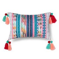 "Yarn Dyed Texture Tassel Pillow (17.7""x10.4"") - Xhilaration™"