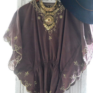 Hippie chic batwing top, Bohemian chic festival clothes, Brown Coachella Poncho top, Gypsy cowgirl clothing, Rustic, True rebel clothing