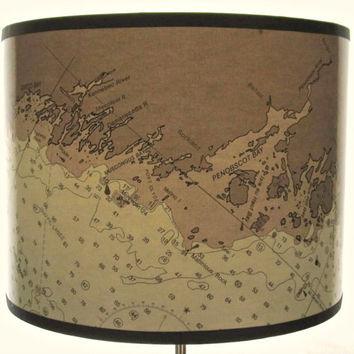Coast of  Maine Chart Drum Lamp Shade - Brown and White Lamp Shade, Nautical Map Shade with MidCoast Maine, Small, Medium, Large, X-Large