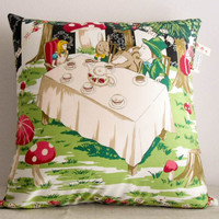 OOAK Alice in Wonderland decorative sateen-cotton pillow cover/Tea time party scene/Fairy tale inspired/Vintage inspired/Ready to ship