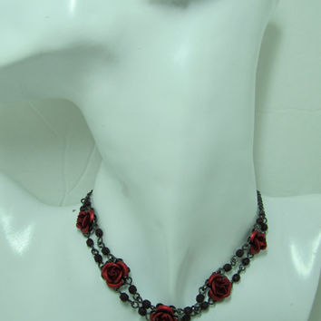 AVON Rose Necklace and Earring Matching Set