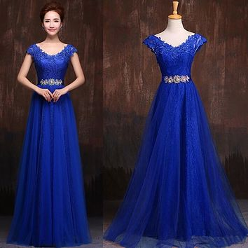 2016 Elegant Long Lace Evening Gowns V Neck Formal Mother of the Bride Dubai Kaftan Red Wine Purple A Line Blue Evening Dresses