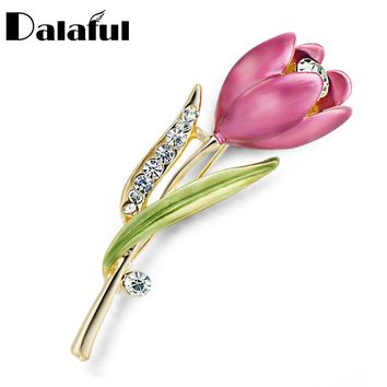 Elegant Tulip Flower Brooch Pin  Crystal Costume Jewelry Clothes Accessories Jewelry Brooches For Wedding Z014