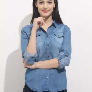 Blue Denim Shirt Collar Long Sleeve Blouse