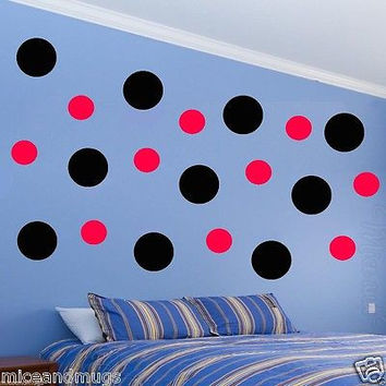 Polka Dots Wall Decals Peel & Stick Art Circles Black and Red Multi-Color MM-30