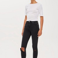 Washed Black Flap Rip Jamie Jeans | Topshop