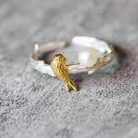 Cute White Pearl and Gold Bird Ring Sterling Silver by Fashnin.com