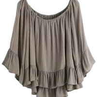 Khaki Boat Neck Bell Sleeve Ruffle Cotton Hemp Blouse