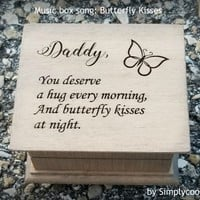 Father's day gift, music box, wooden music box, dad gift, gift for dad, dad music box, last minute gift, Butterfly Kisses, daddy gift