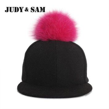 CREYCI7 Amazing Winter Genuine Fluffy Fox Fur Pompon Baseball Hats for Boys and Girls Fall Warm Fur Ball Cap Snapback