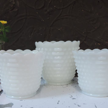 Vintage Fire King White Hobnail Milk Glass Vases Set of Three Milk Glass Vases by Anchor Hocking Fire King Mid Century Milk Glass