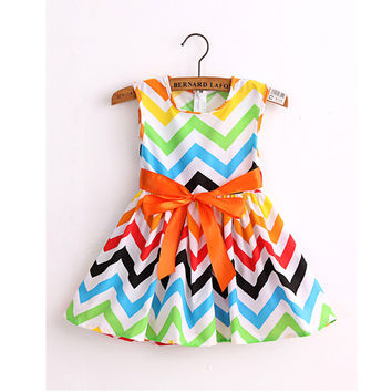 Fashion cotton print girl dress baby girls princess dresses