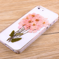 Pink Consolida ajacis pressed flower iPhone Galaxy case 022