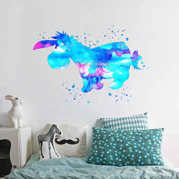 kcik1947 Full Color Wall decal Watercolor Eeyore Winnie the Pooh Character Disney children's room