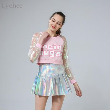 Lychee Spring Autumn Harajuku Japanese Style Women T-shirt Laser Transparent Long Sleeve Patchwork Crop Top