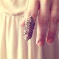 Retro Vintage Floral Lace Knuckle Ring - Free Shipping - Made to order :)