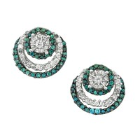 Blue Diamond and Diamond Fashion Earrings 1ctw