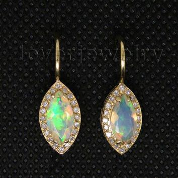 14KT Yellow Gold Natural Opal Earrings Clip Diamond Marquise 4.5x9.5mm