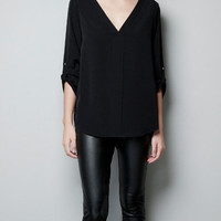 BLOUSE WITH STUDDED SHOULDER - Shirts - Woman - ZARA United States