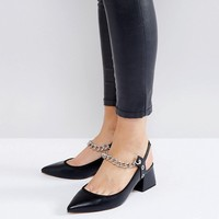ASOS SAVAGE Wide Fit Chain Pointed Heels at asos.com