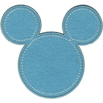 Disney Mickey Mouse Iron-On Applique-Mickey Blue Silhouette