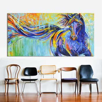 HDARTISAN Wall Art Canvas Animal Painting Colorful Running Horse Picture Home Decor For Living Room No Frame QK2375