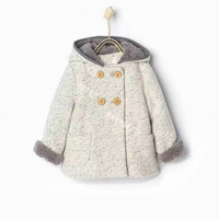 18M to 5 Years Baby Girl Autumn Winter Hooded Woolen Coat Kids Lamb thickened Grey double breasted Trench