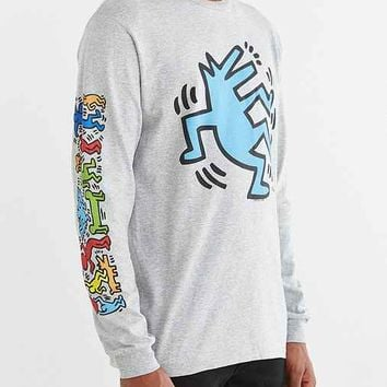 Junk Food Keith Haring Wolf Long-Sleeve Tee- Grey