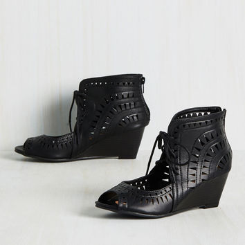 Tri on for Size Wedge in Black | Mod Retro Vintage Heels | ModCloth.com