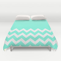 Mint Chevron Colorblock Duvet Cover by Beautiful Homes