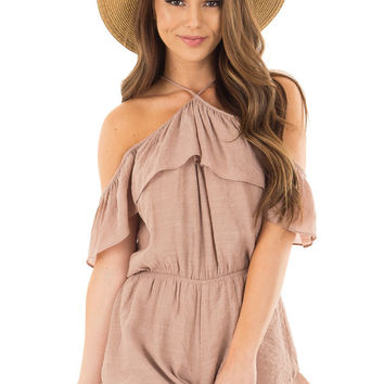 Dusty Mauve Halter Romper with Ruffle Overlay Detail