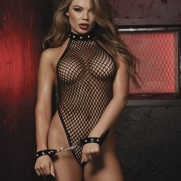 Studded Halter Teddy And Restraint Set