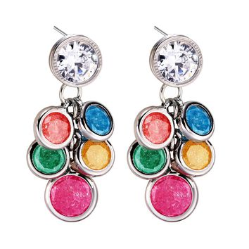 Amazing Stud Style and Rainbow Crystals Silver-Tone Lucky Charm Positive Powers Amulet Earrings