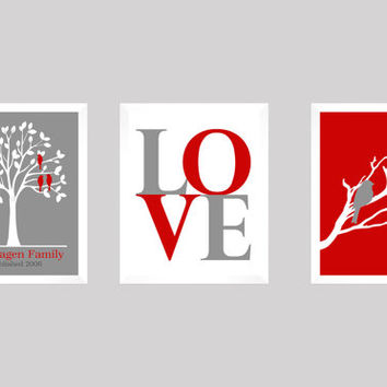 Love Birds Family Tree, Modern Wedding Gift, Family Tree, Anniversary, Modern Newlywed Print, Wedding Tree Print, CUSTOMIZE your COLORS