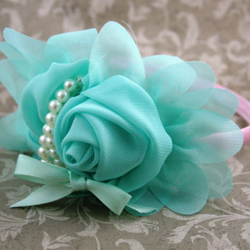 Aqua, Pink and Pearl Headband, Formal Headband, Flower Girl Headband, Girl Headband, Hard Headband, Photo Prop