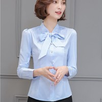 Spring Autumn Women Shirt Fashion Elegant Ladies Bow Tie Long Sleeve Tops Blouse Office Work Wear Black White Blue Slim Blusas