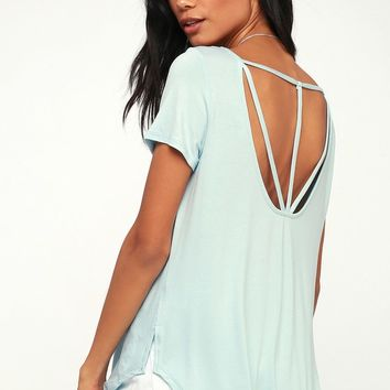 Oakdale Light Blue Strappy Tee