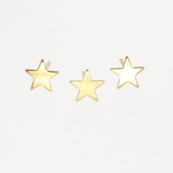 Star Stud Earring - Tiny 14k Gold Post Earring, Sold Individually To Mix And Match